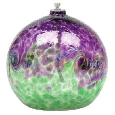 "Van Glow Oil Lamp - Green & Purple 6"""