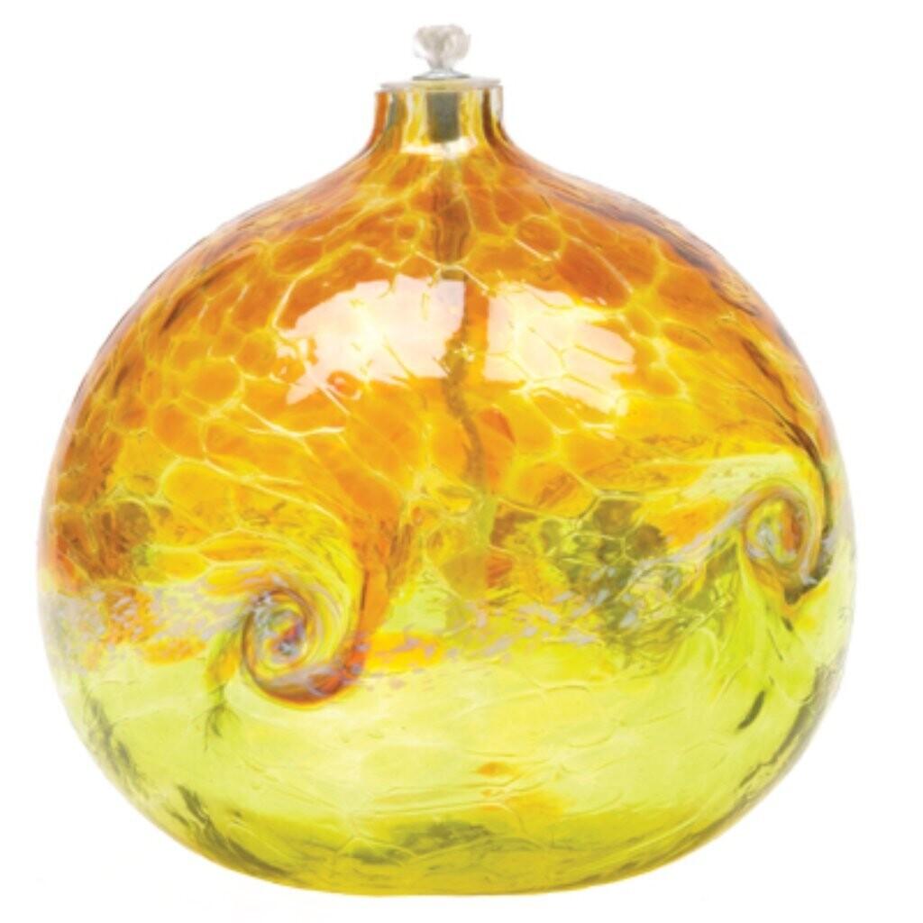 "Van Glow Oil Lamp - Gold & Lime 6"""