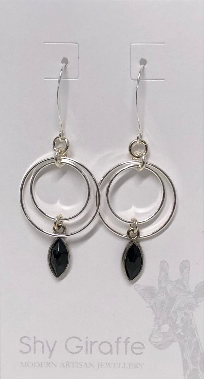 Double Circle Black Onyx Earrings - Shy Giraffe