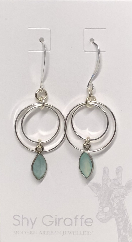 Double Circle Aqua Gemstone Earrings - Shy Giraffe
