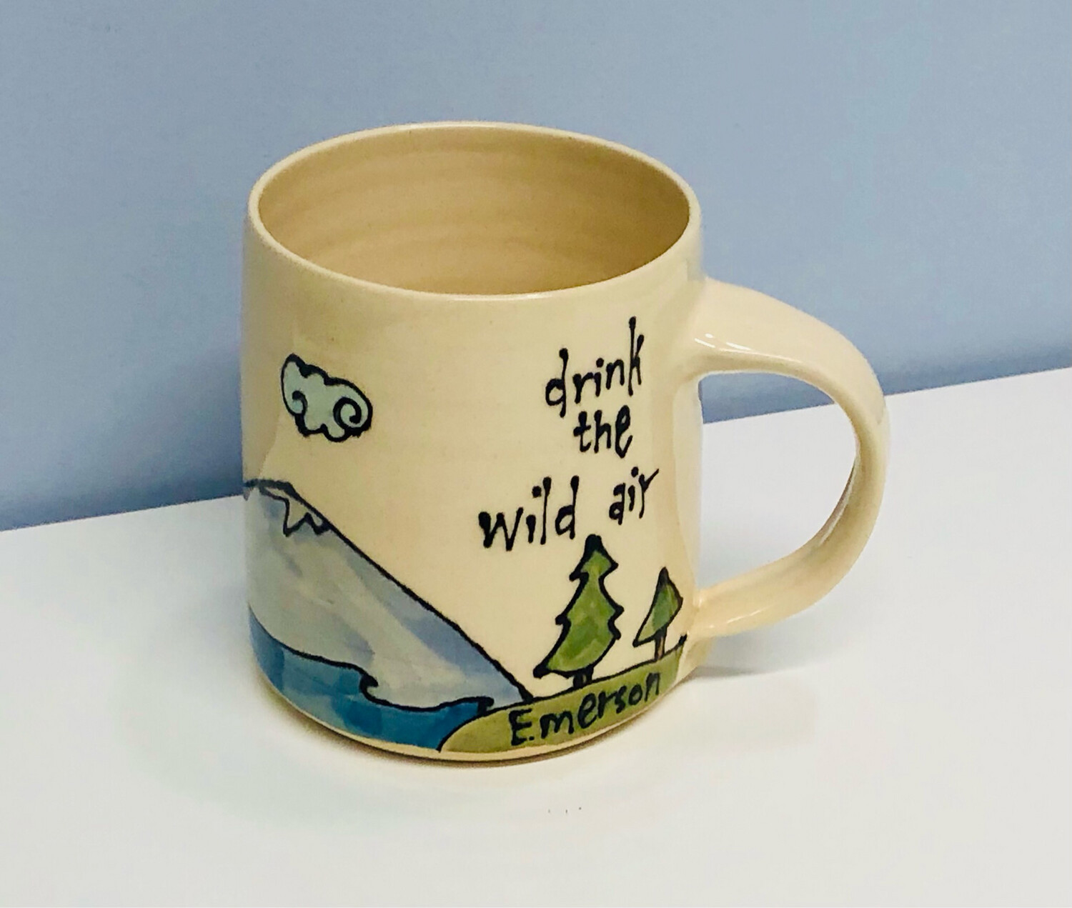 Branches Pottery- Drink The Wild Air, Cream