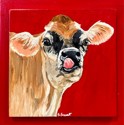 Ann the Jersey Cow on Red