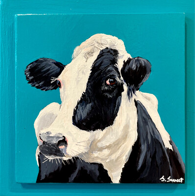 Elizabeth the Holstein Cow on Teal