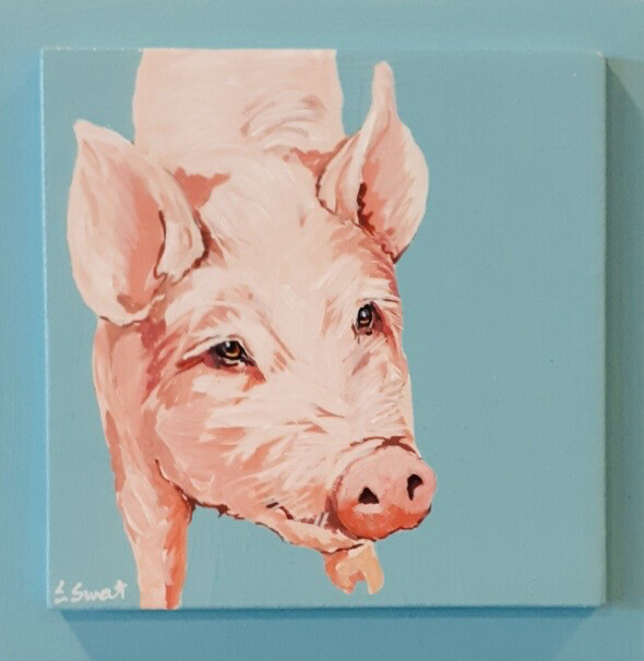 George the Pink Pig on Light Blue