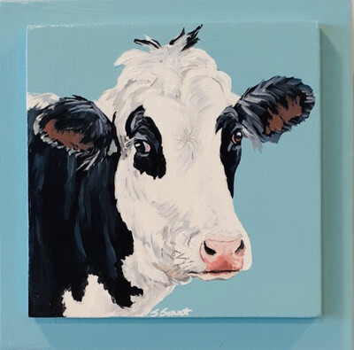 Jo the Holstein Cow on Light Blue
