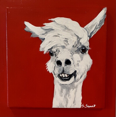 Herb the Alpaca on Red