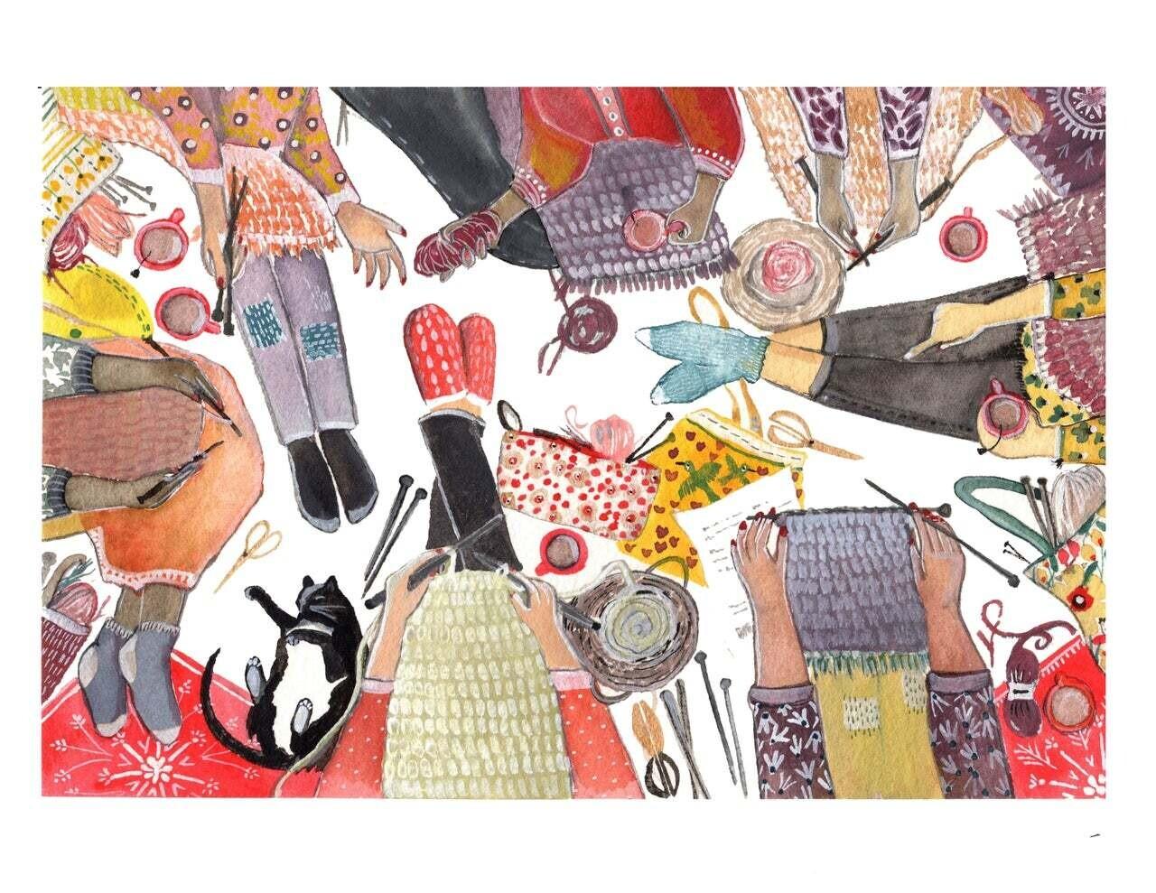 Woman Who Make, Knitters Circle Print-Sarah Duggan