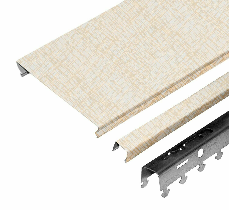 Комплект потолка д/ванной 1,7х1,7м A100AS XF8823 бежевая рогожка (алюм.)