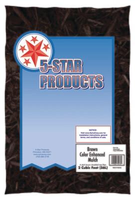 Five Star Brown Colored Mulch 2 Cu Ft Bags
