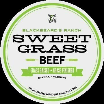 Blackbeard's Sweet Grass Boneless Top Round Steak. 12 oz. Frozen.