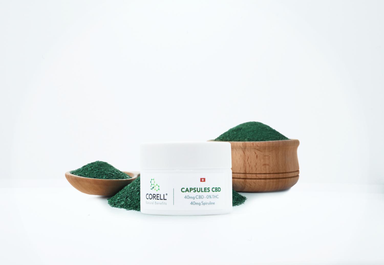 Corell -  Capsules natural CBD et spiruline 40mg /20% CBD (30 capsules)