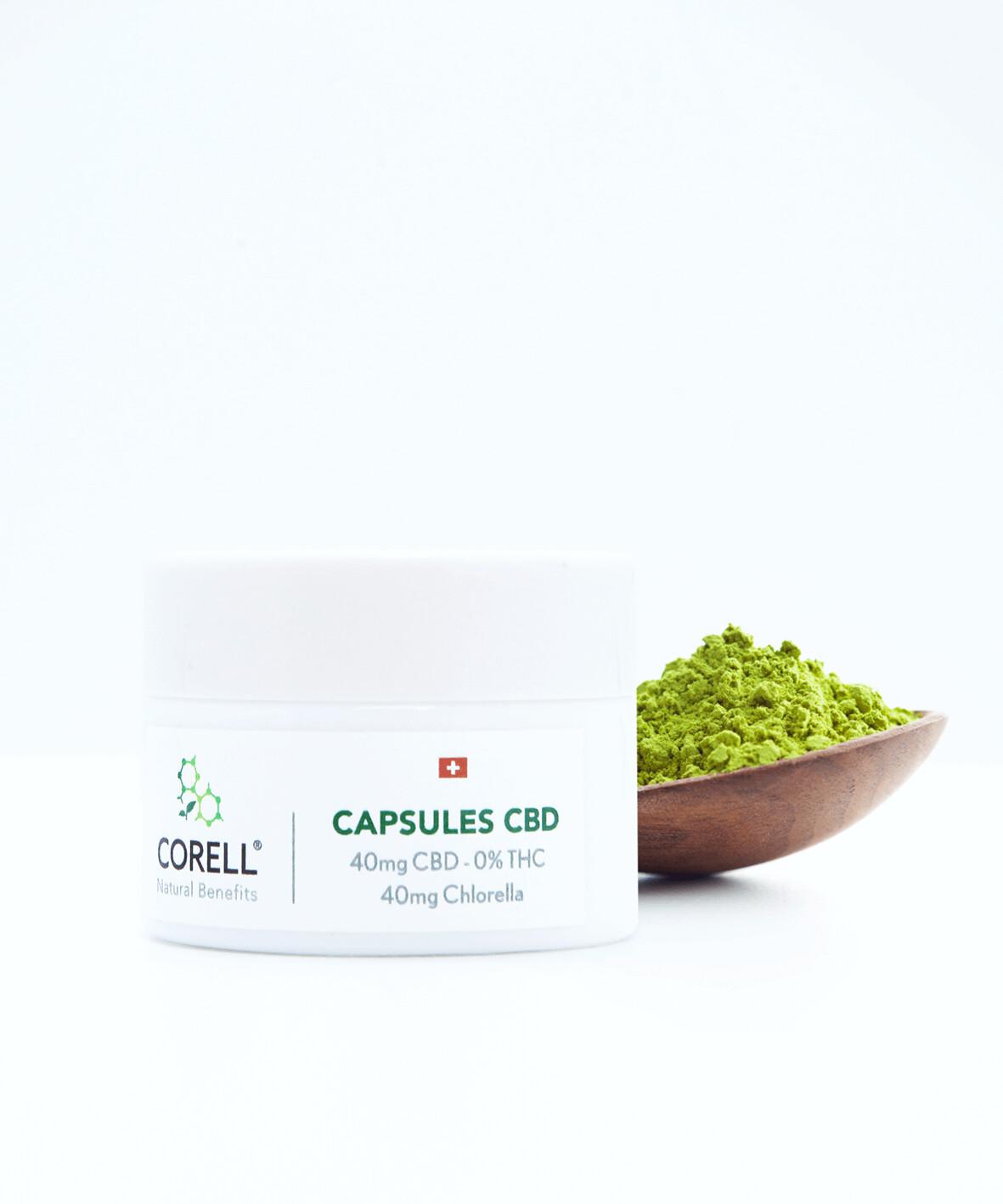 Corell - Capsules natural CBD et chlorella 40mg/ 20% CBD (30 capsules)