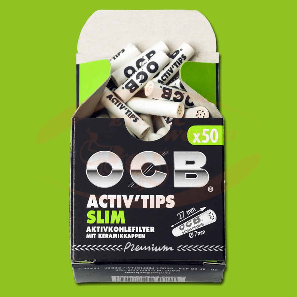 OCB - Activ'tips slim filtres à charbon actif et céramique, 50 pièces
