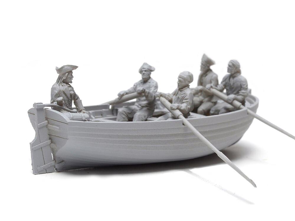 The boat with crew XVIII century 1:72