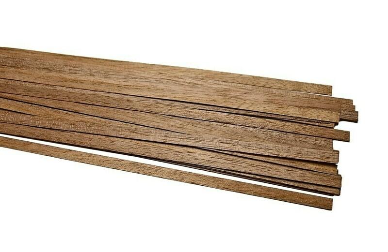 Walnut slats, thickness 0.5mm 5pcs