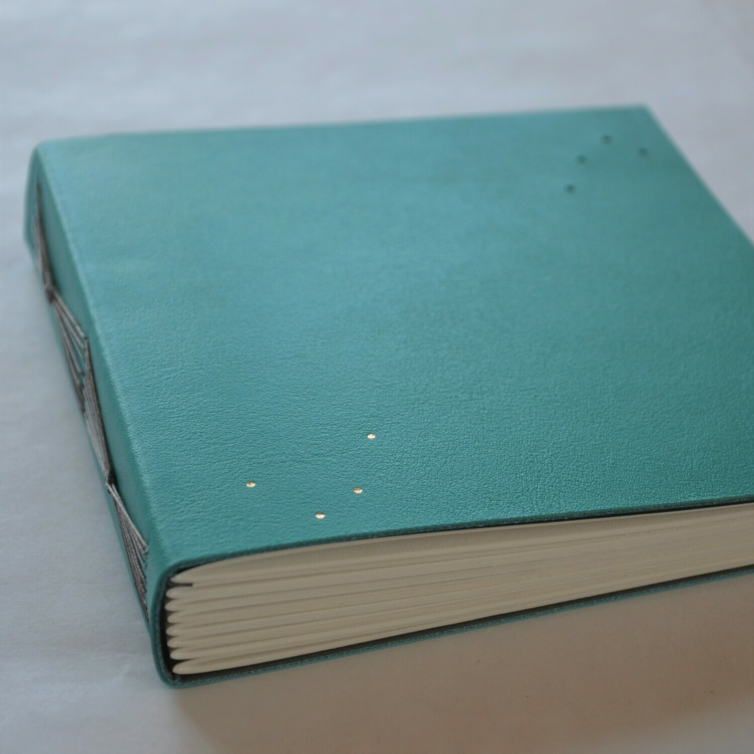Leather Journal Turquoise and Grey