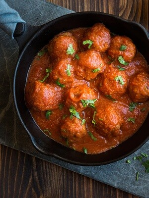 Porcini Meatballs w/Marinara Mother Sauce