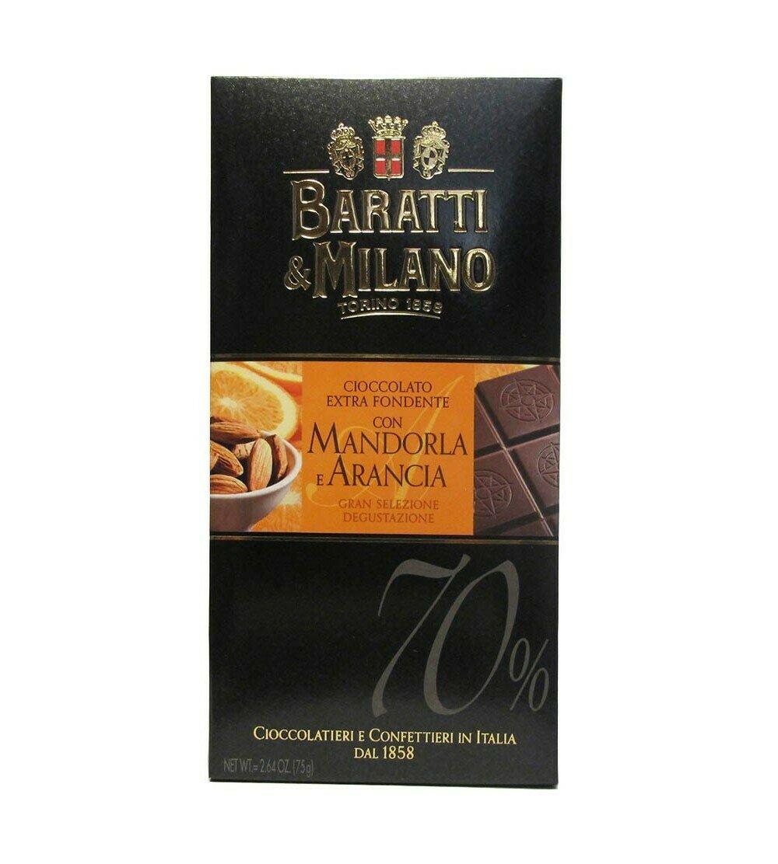 Tablette de chocolat noir extra orange et amande 75g