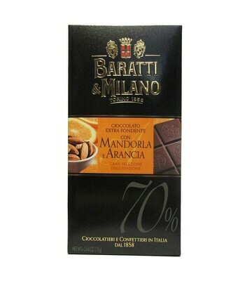 Tablette de chocolat noir extra orange et amande 75g