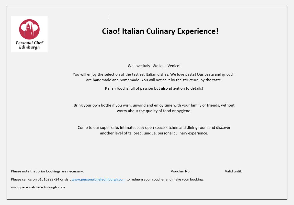 Ciao! Italian Culinary Experience!