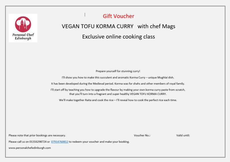 Online: Vegan Tofu Korma Curry