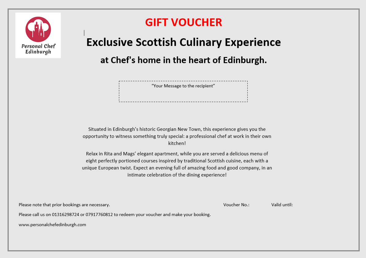 Exclusive Scottish Culinary Experience at Chef's home