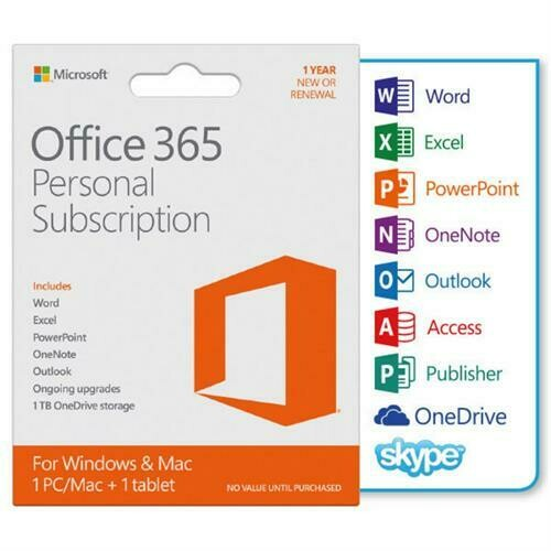 Microsoft Office 365 Personal Subscription– 1 User-1 year subscription, [1 PC/MAC + 1 Tablet, 1tb cloub back up] [Word,Excel,PowerPoint,OneNote,Outlook