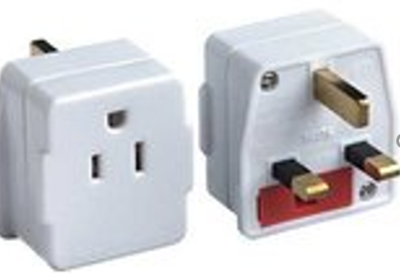 Korbel US to UK plug (with fuse)