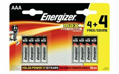 ENERGIZER MAX + POWERSEAL TECHNOLOGY (AAA) 8 PACK BATTERY