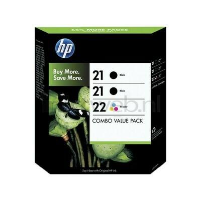 HP 21+21+22 COMBO PACK ( 3 PACK)-PRINTS APP Balck 2 X 190 Pages & Colour 165 Pages