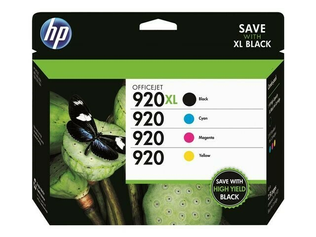 HP 920 XL COMBO PACK ( 4 PACK)-RINTS APP Balck 1200 Pages & @ Colour 700 Pages