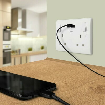 BG 13A Low Profile SP USB Switched Socket 2 Gang 2.1A