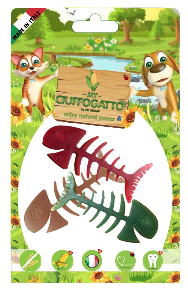 MY PESCIOLINO Giochi vegetali masticabili biodegradabili per cani e gatti a forma di pesce piccolino