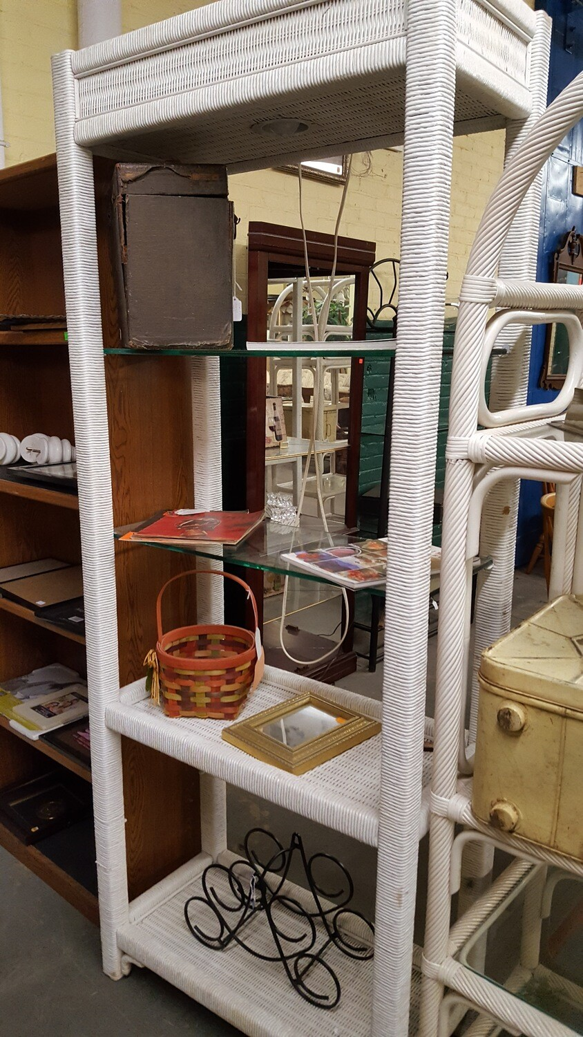 White Wicker Shelving Unit with Light