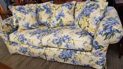 Yellow and Blue Floral Sofa by Hickory Hill