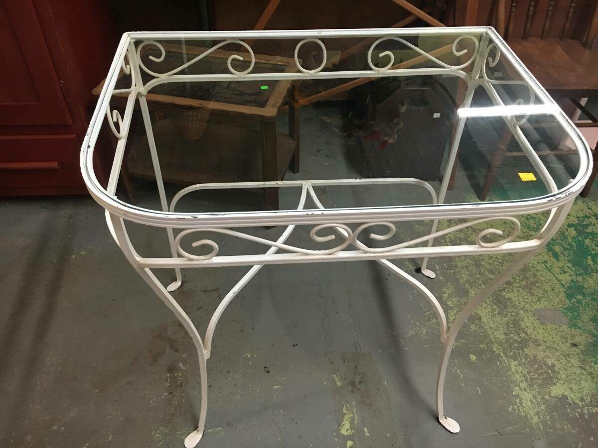 White Wrought Iron and glass table
