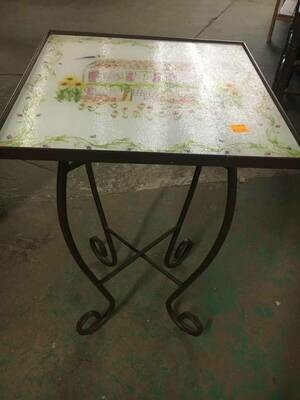 Plant Stand with painted glass top