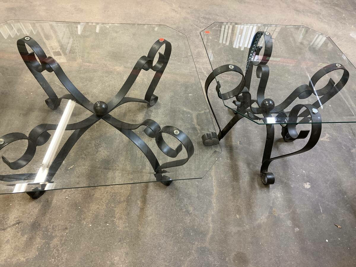 Black metal and glass tables  NEW PRICES