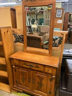 Maple Entry / Hall / Buffet Cabinet with Mirror