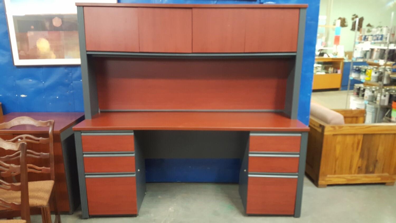 Desk with storage hutch, 6 ft