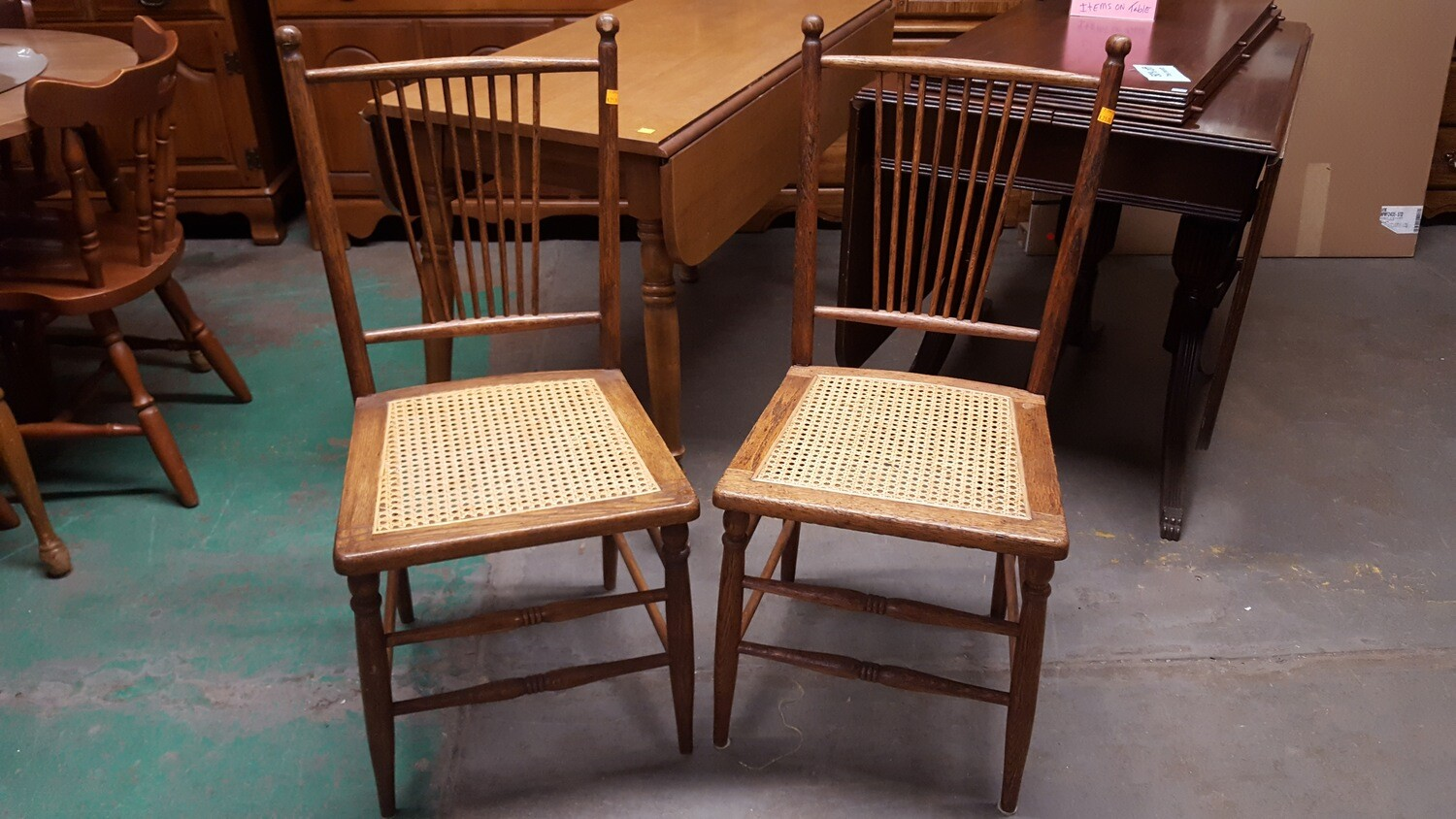 Oak Chair with caned seat, pair