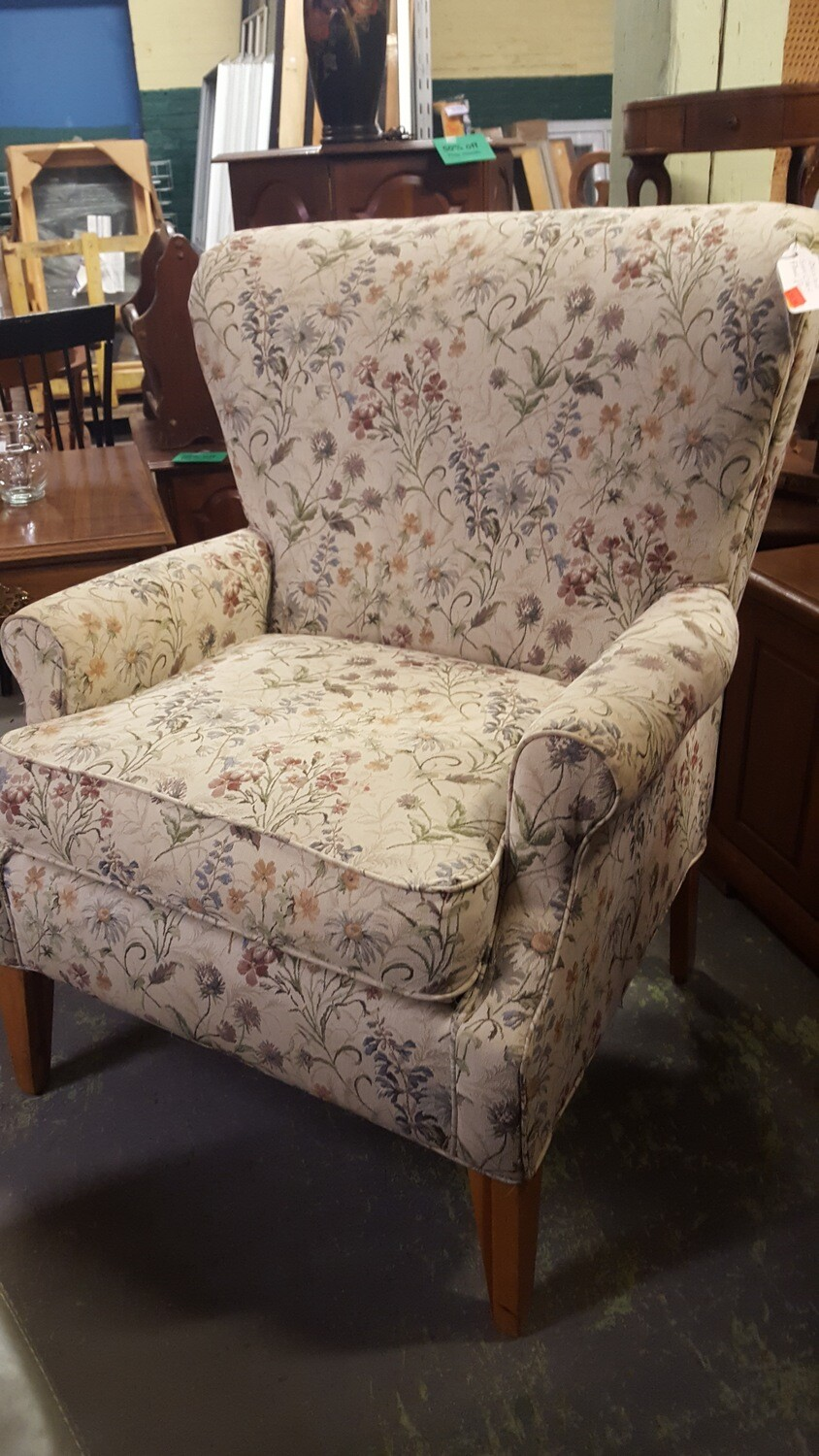 Arm chair with wildflower print