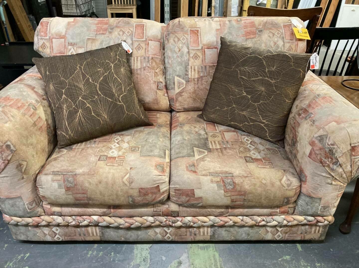 Love Seat with geometric pattern