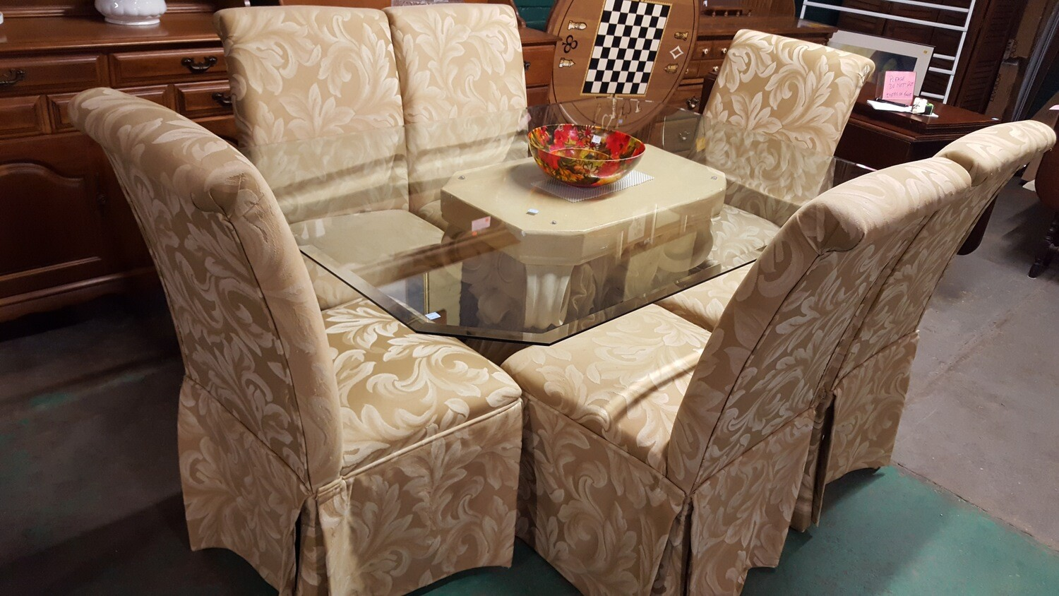 Dining Table glass top, 6 chairs  (BL)