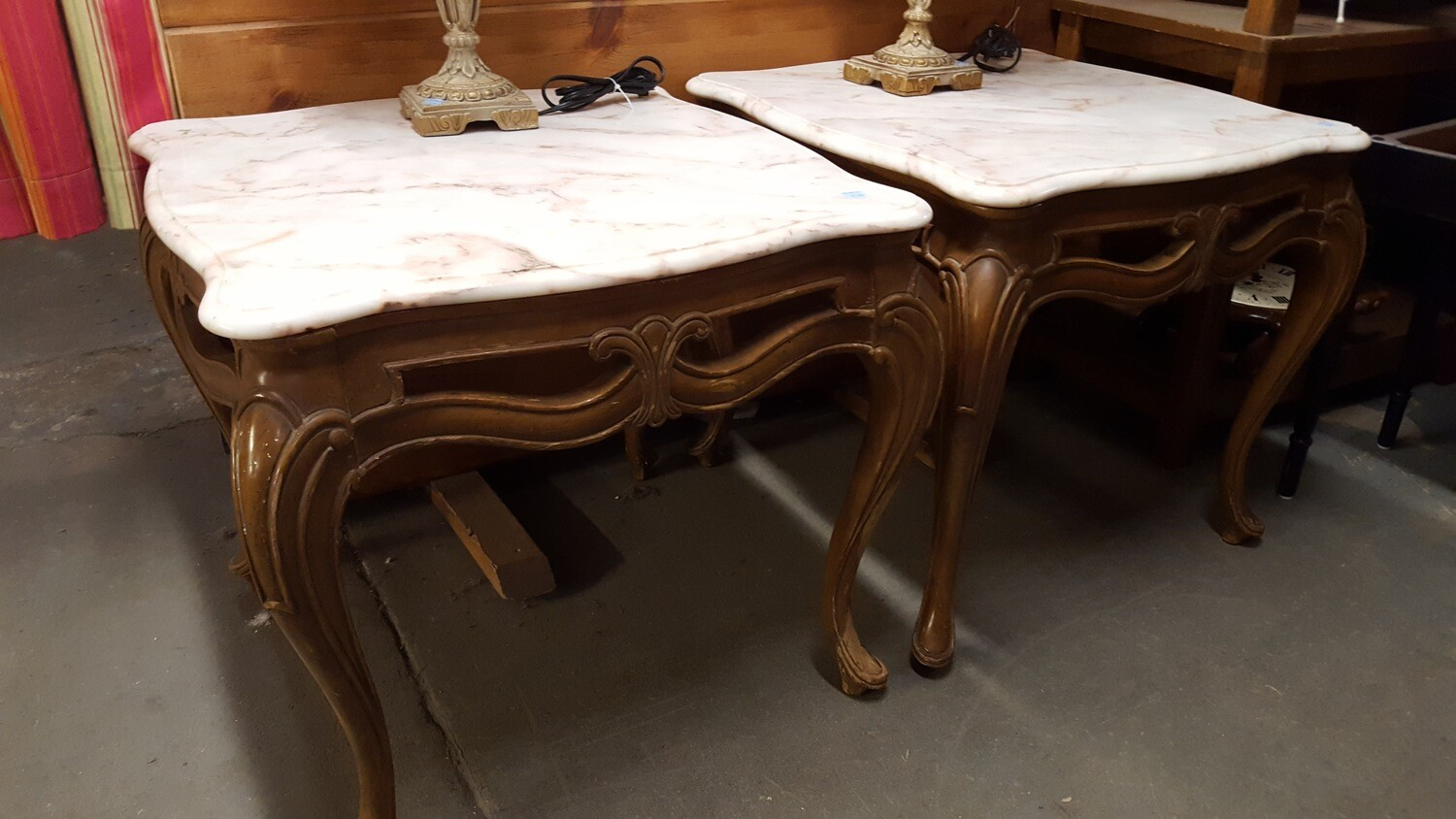 Marble Top End Table  (BL)