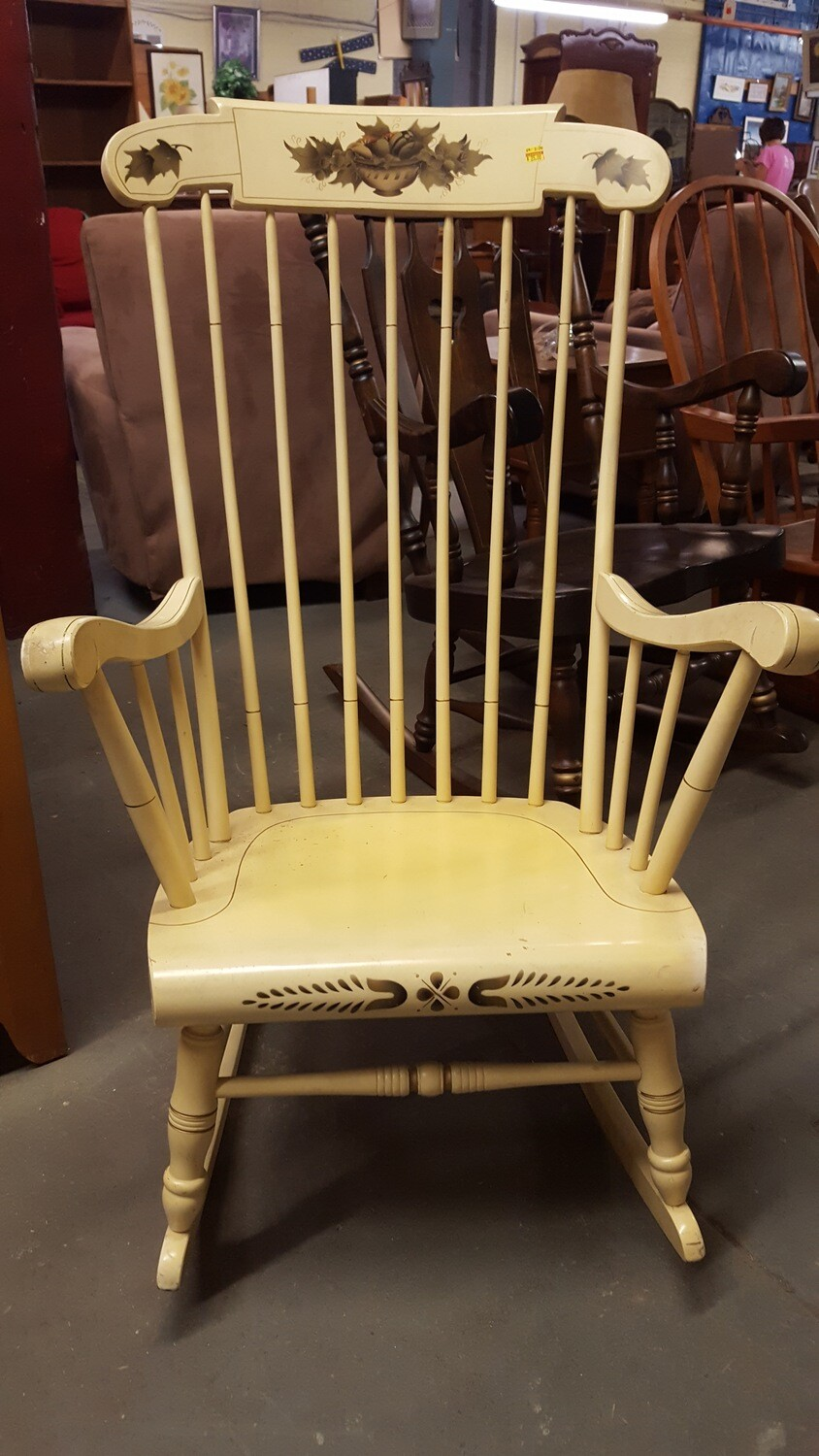 Rocking Chair, cream with stencil  (BL)