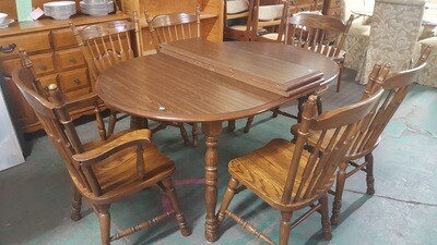 Oak Dining Set, 6 chairs