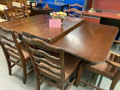 Mahogany Drop-leaf table, 6 chairs (GR)