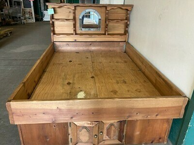 Pine Queen size bed with storage (GR)