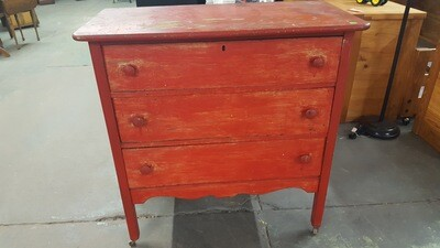 Antique Dresser, painted red (GR)